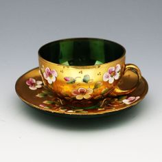 12pc vintage Bohemian Czech Cup & Saucer, gilded emerald green enameled glass