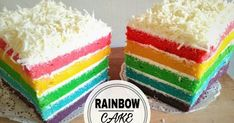 A rainbow cake is fun to look at and eat and a lot easier to make than you might think. Here's a step-by-step guide for how to make a rainbow birthday cake. Fancy Cakes, Mini Cakes, Flat Cakes, Basic Vanilla Cake Recipe, Bolu Cake, Resep Cake, Cake Recipes, Dessert Recipes, Rainbow Food