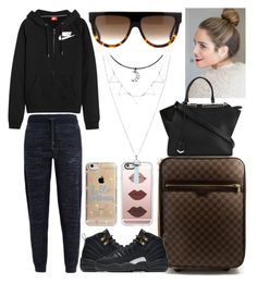 """Late Night Flight to Rome"" by lovelyboo-xoxo on Polyvore featuring Louis Vuitton, NIKE, Casetify, Fendi, CÉLINE and Agent 18"