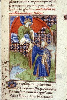Harley 4431 fol 117 detail (Cupid). Paris, France 1410-1414.