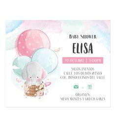 Invitación Baby Shower Elefante Globo Aerostatico - Oh! Yupi Yei
