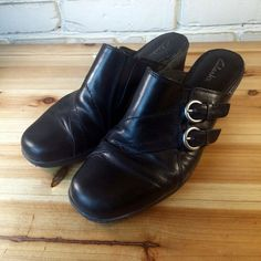 CLARKS Women's Shoes ~ Black Leather Double Buckle Stack Heel Mules ~ US 9 M #Clarks #Mules