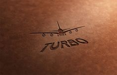 Attention, airplane from Turbo airlines is landing, make place on runway. I am introducing logo of airlines on leather folder.