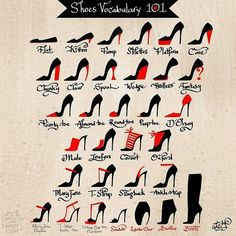 Infographic: different type of fancy heels, shoes, vocabulary Fashion Terms, Fashion Terminology, Fashion Fashion, Trendy Fashion, Fashion Dictionary, Fashion Vocabulary, Today Tips, Fashion Design Sketches, Drawing Clothes