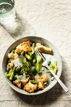Spring Panzanella with asparagus, scallions, brussel sprouts, olives, and dill