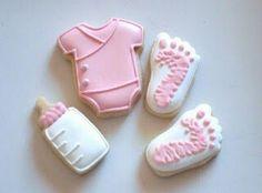 Baby feet, bottle and onesie cookie minis SugarBliss Cookies Iced Cookies, Cute Cookies, Cut Out Cookies, Royal Icing Cookies, Cupcake Cookies, Sugar Cookies, Onesie Cookies, Fondant Cookies, Baby Girl Cookies