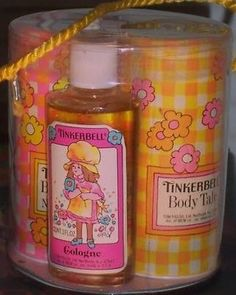 Tinkerbell cologne, talc, lotion, and bubble bath. I remember the talc. My Childhood Memories, Childhood Toys, Sweet Memories, 1970s Childhood, School Memories, Talc, Photo Vintage, 80s Kids, Kids Toys