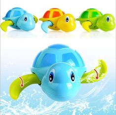 New Born Babies Swim Turtle Wound-up Chain Small Animal Baby Children Bath Toy Classic Toys Essential Random Color Rapid Heat Dissipation Bath Toy