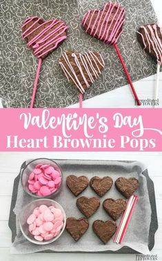 Valentine's Day Heart Brownie Pops Recipe - Melissa K. - Valentine's Day Heart Brownie Pops Recipe Sweet and simple this Valentine's Day Heart Brownie Pops Recipe is great for dessert, school parties, after-school snacks, or as a surprise in a lunchbox. Valentine Desserts, Valentines Day Food, Mini Desserts, Valentine Treats, Valentine Heart, Valentine Cake, Valentines Cakepops, Valentines Cake Pops Recipe, Valentines Baking
