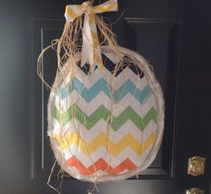 Giant stuffed chevron burlap Easter egg by Cranberrymoondesigns, $22.00