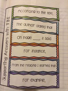 This is a great idea for a reading journal in the classroom. Performing in Education: Upper Grades Mentor Text Lesson: Text-based Evidence Reading Lessons, Reading Strategies, Reading Skills, Reading Activities, Reading Comprehension, Reading Resources, Comprehension Questions, School Resources, Math Lessons
