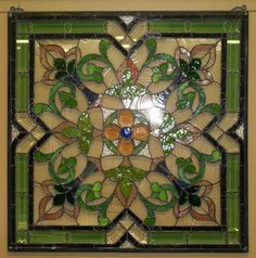 Square green. blue, pink with clear beveled glass , and olive green beveled glass stained glass window For Sale | Antiques.com | Classifieds