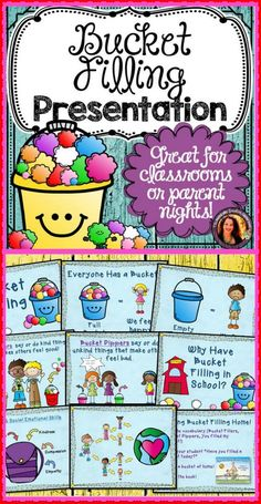 Help prevent bullying in your classroom by explaining the concept of Bucket Filling to your students. Bucket Filling gives students a great visual as well as a concrete way to talk about their feelings and how others are affecting them. This colorful presentation outlines the major points and concepts of bucket filling in a child friendly way!