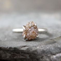 Three Carat Rough Raw Diamond Solitaire and by ASecondTime on Etsy