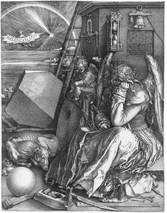 Albrecht Dürer (1471–1528), Date: 1514, Medium: copper plate. Melancholia I - The bat-like creature flying through a night sky declares the subject of this famous engraving: Melancolia I. That dark temperament is personified by a female figure seated in the foreground. The winged infant beside her is a 'genius' (in the ancient sense, meaning an accompanying spirit).
