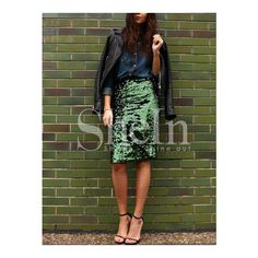 SheIn(sheinside) Green Sequined Straight Skirt ($16) ❤ liked on Polyvore featuring skirts, knee length sequin skirt, knee high skirts, green pencil skirt, green skirt and sequin pencil skirt