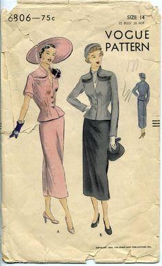 Vogue 6806 Suit Dress Pattern Vintage 40s.