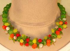 Vtg Venetian Berry Fruit Salad Orange Cherry Leaves Green Art Glass Necklace
