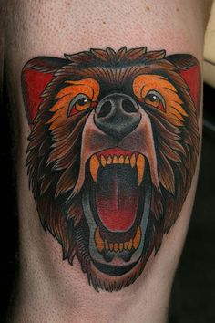 bear tattoo done by stefan johnsson