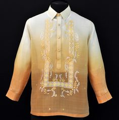 Monochromatic Matte Gold Barong Tagalog - Barongs R us Wedding Wear, Wedding Attire, Wedding Prep, Wedding Dresses, Filipiniana Dress, Vintage Wedding Theme, Line Shopping, Groom Attire, Matte Gold
