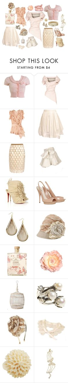"""""""Not Quite White"""" by madberry ❤ liked on Polyvore featuring Wet Seal, Vivienne Westwood Gold Label, Zac Posen, Acne Studios, Marni, AllSaints, Christian Louboutin, Miu Miu, Lollia and Anthropologie"""