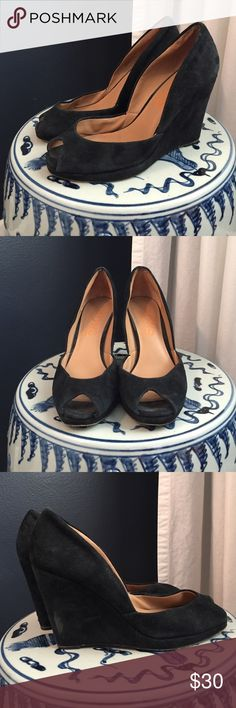 """Black Suede """"Vail"""" Peep Toe Wedges - Sz 6 Black suede KORS by Michael Kors peep toe wedges. In gently used condition - still have a ton of life in them! Slight scuff on outside of right shoe's heel (see third photo). Leather upper, leather sole. KORS Michael Kors Shoes Wedges"""