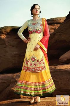 This yellow red Anarkali Salwar Suit is the fusion of the designs like patch, resham and embroidery works. #anarkalisalwarsuits #anarkalisuits #anarkalidresses #anarkalisalwarkameez #bridalanarkali #longanarkalisuits