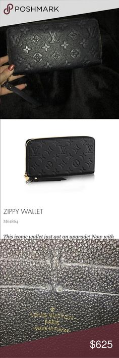Louis Vuitton Zippy Wallet All black calf leather with gold accesories.  12 credit card slots. Zipper compartment for coins. 2 inside patch pockets, zip closure wallet. In perfect condition no signs of wear on inside or outside. 7.5 length, .8 width, 3.9 height. Louis Vuitton Bags Wallets