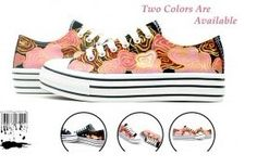 Golden Wavelet Hand Painted Platform Canvas Shoes,Low-top Painted Canvas Shoes
