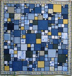 Stained glass quilt from denim jeans by Alicia Wells. Free pattern. She has made about 100 quilts using this pattern.