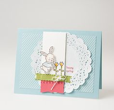 """Easter is on coming.  I love this stamp set """"A Little Bit of Spring"""" from the Spring Catalog with Baja Breeze, Primrose Petals, and Basic Gray."""