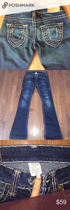 Pre-loved True Religion Jeans Worn a few times Just Like New Condition!!!  Authentic True Religion Jeans; super quality denim; gorgeous dark blue wash!!! True Religion Jeans