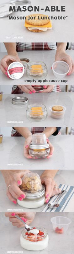 "DIY Mason Jar Lunchable (""Mason-able""). How to make Mason Jar Lunchable with an apple sauce cup and a mason jar!"