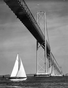 Aubrey Bodine a photographer for the Baltimore Sun for 50 years. This photo: Chesapeake Bay Bridge Great Places, Places To Go, Chesapeake Bay Bridge, Delmarva Peninsula, Ocean City Md, Delaware Bay, Virginia, Cool Photos, Sailing