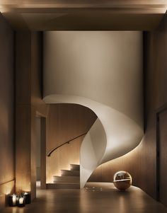 The New York Edition hotel lobby spiral staircase Modern Staircase, Staircase Design, Spiral Staircases, Contemporary Stairs, Curved Staircase, Contemporary Style, Modern Art, Modern Design, Hotel Ny