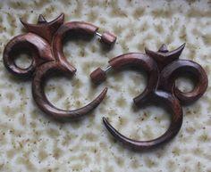 SACRED Om Earrings Organic Fake Gauge Natural by SanskritDream