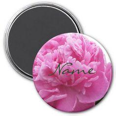Pink Peony 3 Flower Refrigerator Magnet #zazzle #magnet #pink #peony #flowers #garden