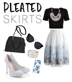 """Pleated skirt"" by katietheperkins on Polyvore featuring Chicwish, Ted Baker, Lipsy, Charlotte Russe, Avenue, Quay, Sonix and pleatedskirts"