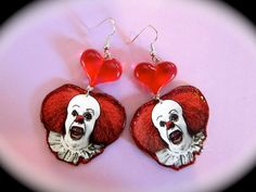 Pennywise the Clown Dangle Earrings by PinkPandemonium on Etsy, $8.00