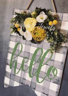 Plaid Hello Door Hanger- Sign for Front Porch - Front Door Decor - Buffalo Plaid Sign - Personalize Best Front Doors, Front Door Signs, Porch Signs, Front Door Decor, Front Porch, Painted Doors, Wooden Doors, Wooden Signs, Front Door Makeover