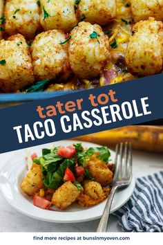 Extra cheesy and super easy tater tot casserole! This is a family favorite! #mexican #taco #casserole #recipe Mexican Tater Tot Casserole, Taco Casserole, Casserole Dishes, Casserole Recipes, Mexican Food Recipes, Dinner Recipes, Ethnic Recipes, Easy Family Meals, Family Recipes