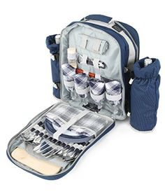 Greenfield Collection Luxury Picnic Backpack Hamper for Four People in Midnight Blue - Fitted Backpack Range * For more information, visit http://www.amazon.com/gp/product/B00E1JG0AK/?tag=wwwmytravel-20&hi=210716012808
