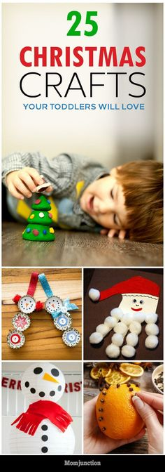 25 Easy Christmas Crafts Your #Toddlers Will Love :A great way to keep your toddlers entertained and busy for Christmas is by making some easy and fun Christmas crafts for toddlers at home