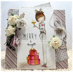 All dressed up image Merry And Bright, coloured with distress re-inkers