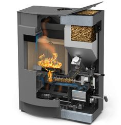 The combi stove offers you the choice of heating with either pellets or logs. You can therefore enjoy the advantages of both fuels in one stove. Biomass Energy, Wood Pellet Stoves, Rocket Mass Heater, Wood Pellets, Rocket Stoves, Boiler, Kitchen Appliances, Indoor, Interior Design