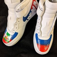 His and Hers Customs by . Made to order 🔻🔻🔻🔻 . Custom Sneakers, Custom Shoes, Sneakers Nike, Haitian Flag, Nike Airforce 1, Shoe Art, Air Force Ones, Kicks, Photo And Video