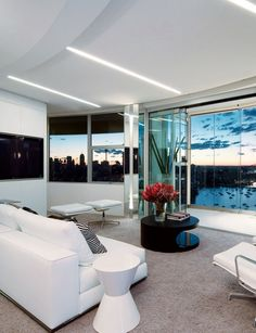 Large living room with the view - Interior designs for your home Apartment Interior, Apartment Design, Apartment Living, Modern Contemporary Living Room, Contemporary Apartment, Glam Living Room, Living Room Lighting, Living Rooms, Kb Homes