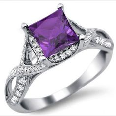 Princess Cut 2.30CT Amethyst Diamond Rhodium Plating Sterling Silver Engagement Ring