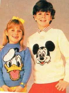 Remember these?! | Childrens Mickey Mouse & Donald Duck Sweaters Jumper Vintage Knitting Pattern | eBay