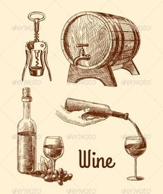 Wine Sketch Decorative Set